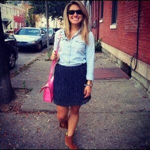 Madewell pleated polka dot skirt navy size 2